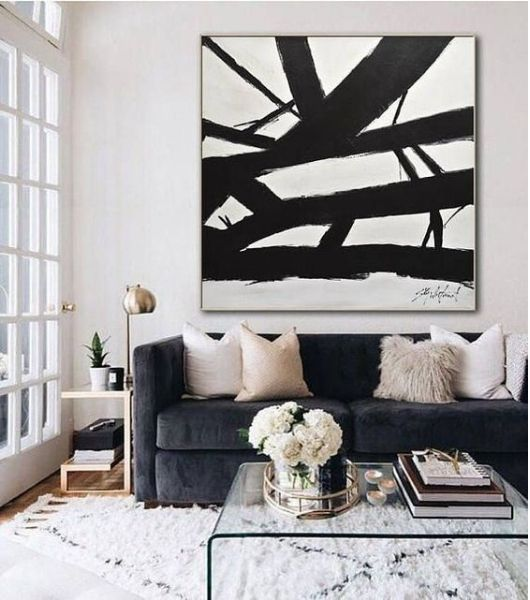 glam living room with large painting
