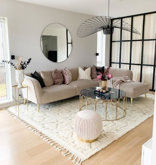 glam living room with velvet sectional sofa geometric coffee table