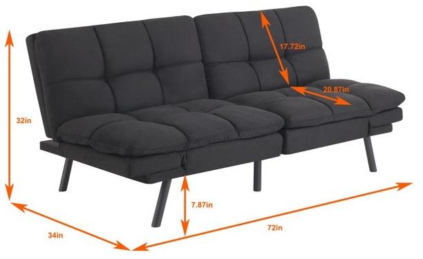mainstays memory foam futon dimensions